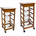3 4 Tier Kitchen Trolley Brown Cart Basket Storage Drawer Tile Top Portable