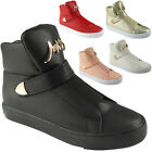 Womens Hi Top Sneakers Padded Tongue Trainers Ladies Plimsolls Ankle Boots Size