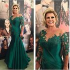 Long Sleeve Green Mermaid Mother Of The Bride Dress Plus Size Evening Gown HD114