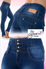 Womens Ladies High Waisted Blue Skinny Fit Jeans Stretch Denim Jegging Size 6-12