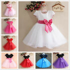 New Baby Girl Clothes Toddler Infant Kids Big Bowknot Party Princess Dress yarn