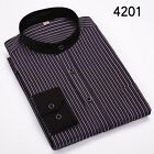 8 Colors Mens Stand Collar Long Sleeve Striped Business Casual Dress Soft Shirt