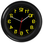 Backwards Clock Reverse Movement Anti Clockwise Barbers #4 Yellow Text