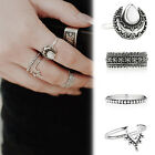 4 PCs Fashion Women Jewelry Gold Silver Plated Charming Moonstone Ring Set Gift
