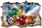 LEGO AVENGERS SMASHED HOLE IN WALL 3D STICKER ART DECAL