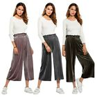 Women's Fashion Loose Elastic Waist Shine Color Corduroy Wide Leg Pants Culottes