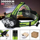 30000LM 5X XML T6 LED Headlamp USB Rechargeable 18650 Headlight Head Light Torch <br/> Same day dispatch ✔Camping &amp; Hiking ✔ Battery &amp; Charger