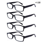Reading Glasses Unisex Spring Hinge Readers Stylish Men and Women 4 Pairs/Pack