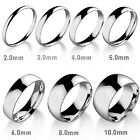 3-8MM Men's Women's Simple Smooth Polished Wedding Elegant Stainless Steel Rings