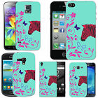 pattern case cover for many Mobile phones - azure pink curl zebra