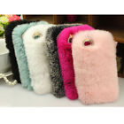Soft Rex Rabbit Fluffy Fur Back Case Cover Skin For iPhone 6/6s 6 plus/6s plus