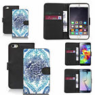 faux leather wallet case for many Mobile phones - blue delighted floral
