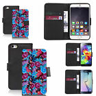 faux leather wallet case for many Mobile phones - blue backyard floral