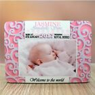 Personalised Girls New Baby Birth Announcement WOOD PANEL PICTURE FRAME F44