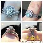 1.15 CT Oval Cut Diamond 925 Silver Bridal  White Gold Over Engagement Ring Set