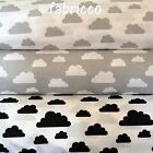 GREY BLACK WHITE  Clouds 100% COTTON FABRIC  meter EX WIDE 160CM 64""