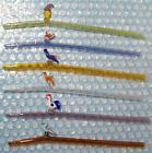 Lot of 6 USED MOXIE GLASS BIRDS OF PARADISE & CLOWN STRAWS * 10mm BENT & TAPERED