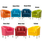 New Shiny Armchair Wax&Oil Leather Tub Chair Dining Room Modern Office Furniture