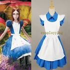 Alice in Wonderland Movie/Film Blue Outfit Suit Maid Dress Apron Cosplay Costume