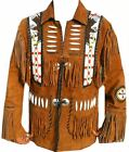 Mens Western Leather Jacket Fringed, Bones and Beaded Eagle Style