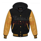 Top quality HOODIE BLACK/YELLOW GOLD VARSITY LETTERMAN WOOL&REAL LEATHER  JACKET