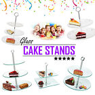 Glass Cake Stand Birthday Wedding Party Serving Platter Sandwich Round Square