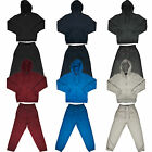 New Boys Tracksuit Set Kids Hooded Fleece Zip Up Hoodie Joggers Suit Fashion