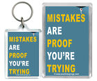 """""""Mistakes Are Proof Your Trying..."""" Motivational Keyring & Fridge magnet Gifts"""