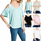 Cold Shoulder V Neck Ruffled Short Sleeve Top with Pleated Bcck Detail S M L