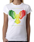 Junior's Rasta Tribal Owl White T-Shirt Native Mosaic Reggae Wildlife Tee B175