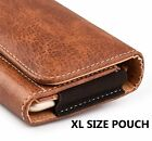 for ZTE XL PHONES - Horizontal BROWN Leather Pouch Holder Belt Clip Holster Case