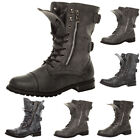 WOMENS LADIES MILITARY COMBAT ARMY LACE UP LOW HEEL FLAT BIKER ANKLE BOOTS SIZE