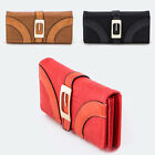 Women Trifold Long Gold Metal Buckled Wallet Clutch Card Coin Holder PU Leather
