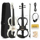 New Music 4/4 Full Size Electric Silent Wood Violin Fiddle +Case Bow +Bow+Rosin