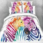 Colorful Zebras Quilt/Duvet Cover Set Single/King/Queen Bed Doona Covers Floral