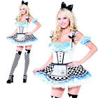 Ladies Sweet Alice in Wonderland womens dressing up costume sexy outfit fairytal