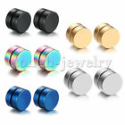 Men Women Stainless Steel Stud Earrings Magnetic Ear Plugs Non-Piercing Clip On image