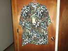 Caribbean Men's Hawaiian Shirt Size L Short Sleeve Button Brown Blue NWT