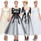 Retro Ball Gown Evening Prom Party Wedding Bridemaid A Line Lace Dress AU 6/8-20