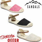 WOMENS LADIES FLAT ANKLE STRAP CLOSE TOE ESPADRILLES SUMMER CASUAL SHOES SANDALS