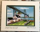 MT HOPE BRIDGE and BRISTOL FERRY LIGHTHOUSE ART PRINT RI Gift Seascape Bay Ocean