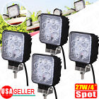 4PCS  4'' 27W Spot Square LED Work Light Offroad Boat Car Tractor Truck SUV ATV