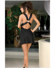 MICROFIBER DRESS WITH SEQUIN BUST & MATCHING THONG BLACK