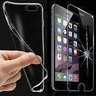 Tempered Glass & Ultra Slim Clear TPU Protective Case Cover For Apple Phones