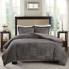 ULTRA PLUSH SUPER SOFT WARM COZY MODERN FUR STRIPE CHARCOAL GREY COMFORTER SET image