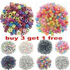 100pcs 6/7mm Flat Round & Cube Mixed Alphabet Acrylic Beads 17 Colors