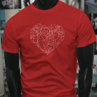 CRYSTAL SHAPED HEART GEMS RARE MINERALS STONES Mens Red T-Shirt image