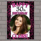 Personalised Pink Swilrs Happy Birthday PHOTO Poster Banner N132 ANY AGE