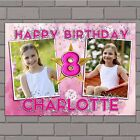 Personalised Girls Star Sparkle Happy Birthday PHOTO Poster Banner N134 ANY AGE