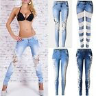 UK Womens Lace Stretch Skinny Sexy Ladies Denim Pencil Pants Trousers Jeans 6-16